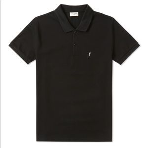 Saint Laurent Pique YSL Logo Polo, Black Med-Large